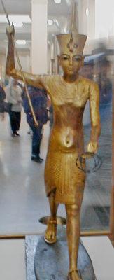 Gold spear man from tomb of Tutankhamun